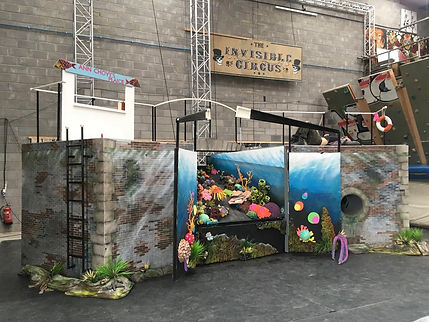 fantasy, underwater, coral, theatre set, spray paint, reclaimed, Extraordinary Bodies, Bev Milward, William Datsun