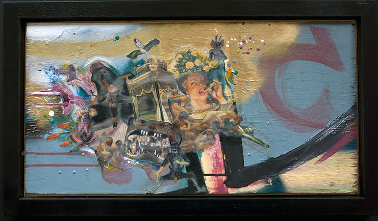 encaustic, collage, graffiti,