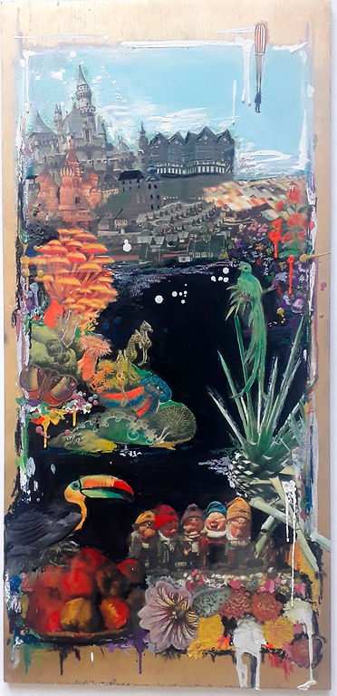 Fool's paradise, Disneyland, collage, landscape, fantasy, castles in the air, encaustic, bev milward