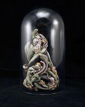 porcelain, sculpture, glass dome, souls, claws, teeth, bev milward
