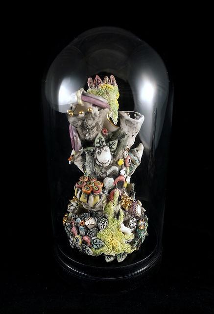 porcelain, sculpture, dreamscape, glass dome, Bev Milward, art
