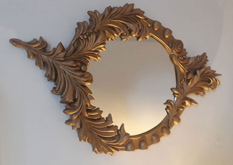 mirror, baroque, gold, frame, bev milward