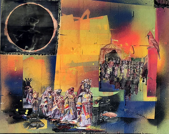 Death, march, Wax, collage, spray paint, abstract, art, bev milward, bright,