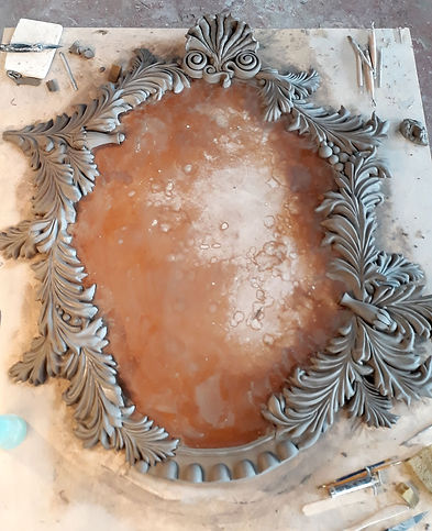 clay, master, frame, artist, bev milward, baroque, mirror, modeling, commissions