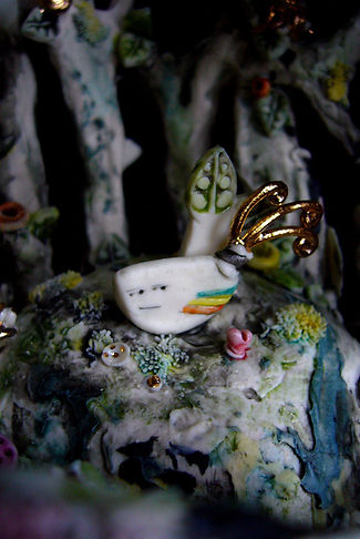 porcelain, sculpture, bird cage, bev milward