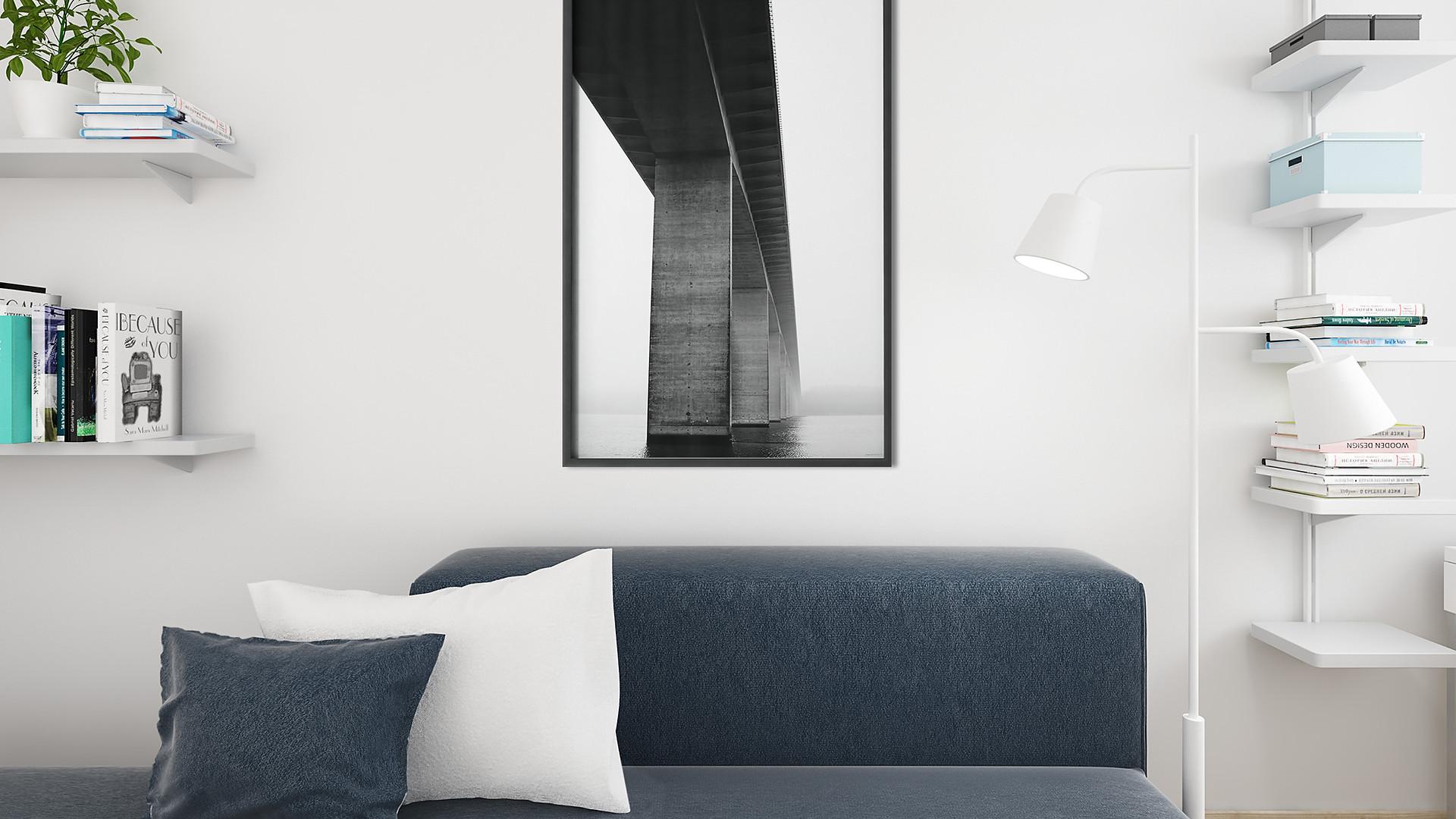Vejlefjordbroen plakat i stuen