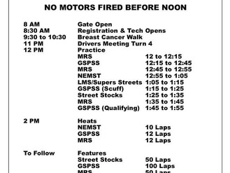 Schedule For Sunday, October 7th At Lee USA Speedway