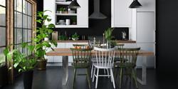 ダークカラー:ドラマチックな色づかいの新しいキッチン