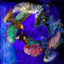 Birds in Flight - Cobalt Blue