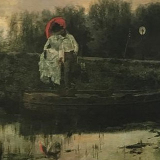 Courting couple in rowboat 1