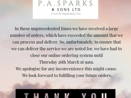 LATEST NEWS FROM P.A.SPARKS & SONS...