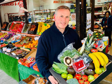 Your local greengrocer, fully stocked for his customers!