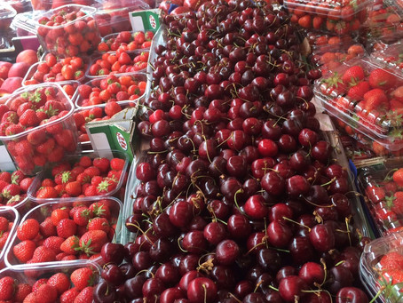 """""""Get your Belgium strawberries and cherries - just arrived in store!"""""""
