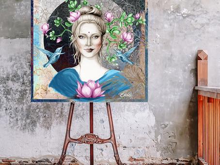 Lotus Moon Goddess Painting