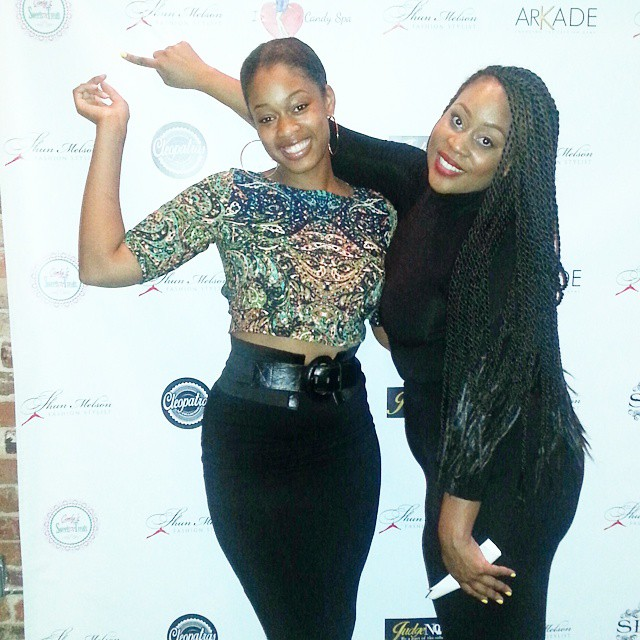 Me and #ericadias _fashion101ed  at _shunmelson #popupshop pointing to my #logo