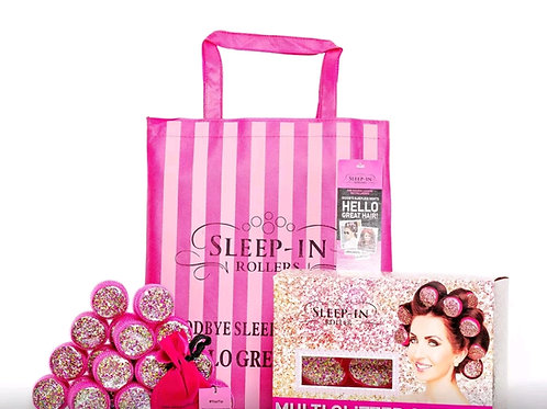 Pink Multi Glitter Sleep in Rollers