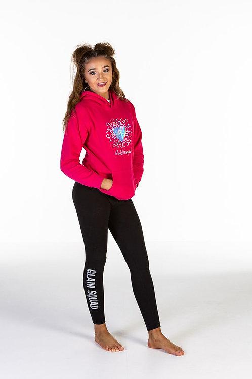 Bright Pink Custom Glam Squad hooded sweatshirt