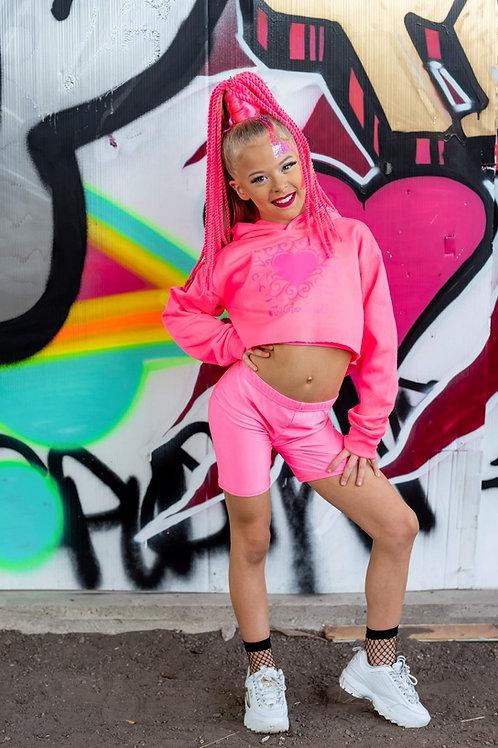 Barbie Neon Pink Crop Hoodie