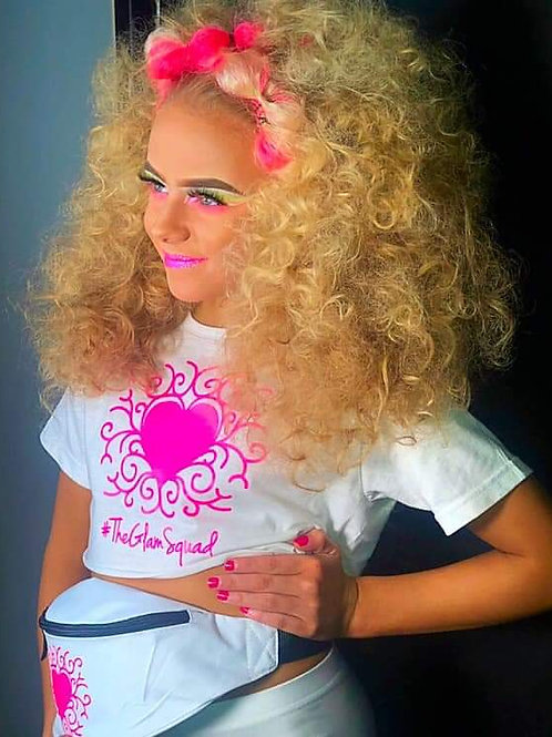 White/Pink Neon UV Glam Glow Crop top