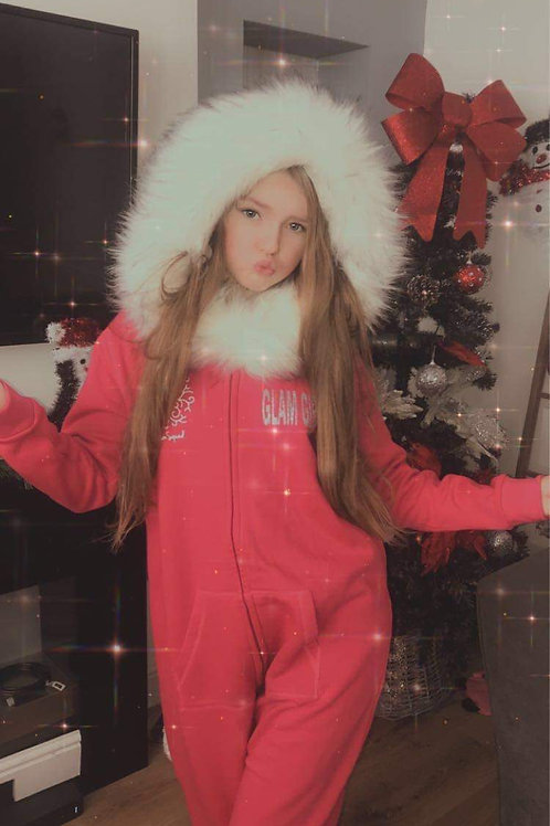 Bright Pink  fluffy onesie white faux fur