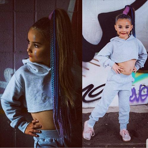 90s Barbie Grey/Lilac Set Crop Hoodie & Bottoms