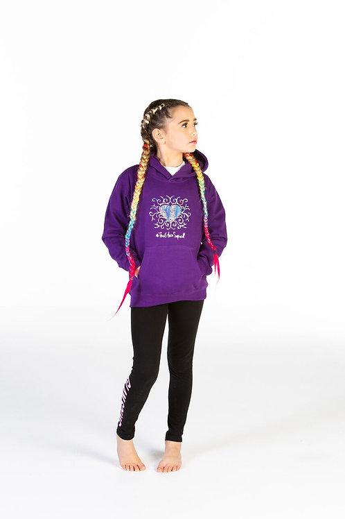 Purple Hologram Sparkle Heart Hoodie
