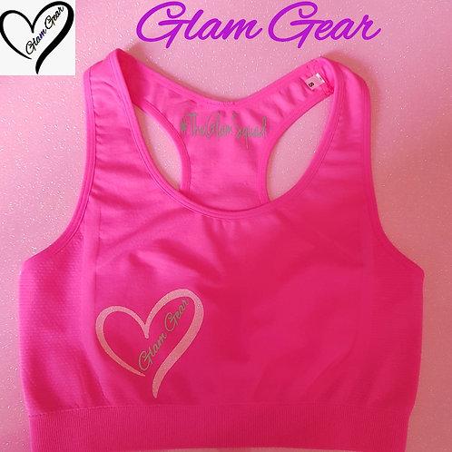Glam Gear Sports Crop Top Pink