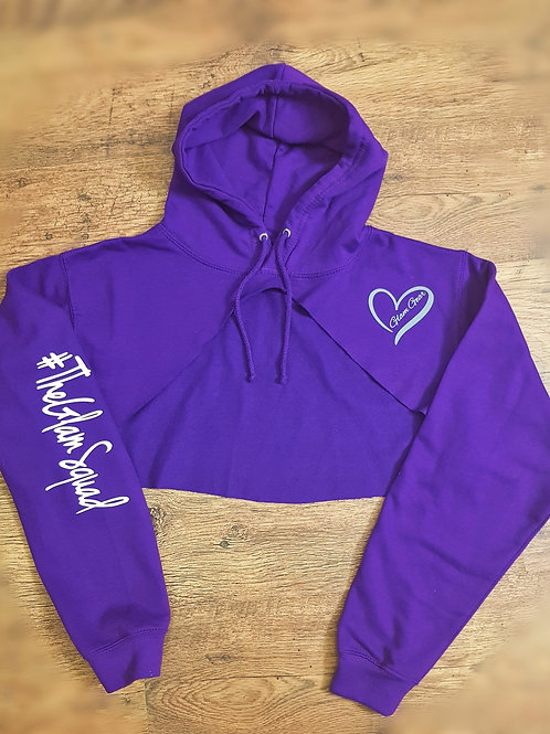 Purple Midi High Rise Crop Hoodie
