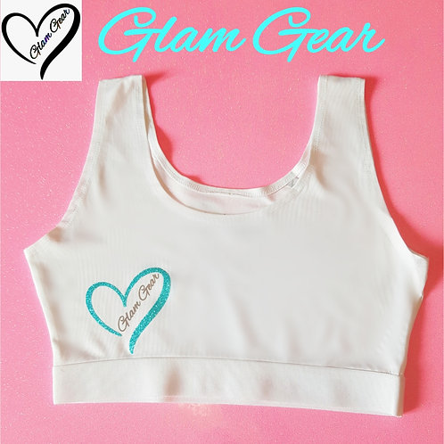 Glam Gear Sports Crop Top White/ Torqoiuse
