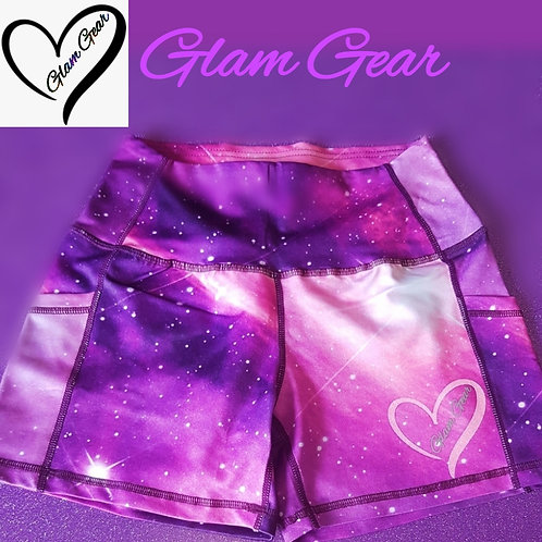 Glam Gear Sports Galaxy Luxe Shorts Pink/Purple