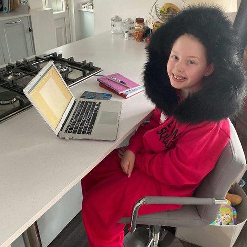 Glam Girl MADELEINE Luxury faux fur onesie. Pink/Black