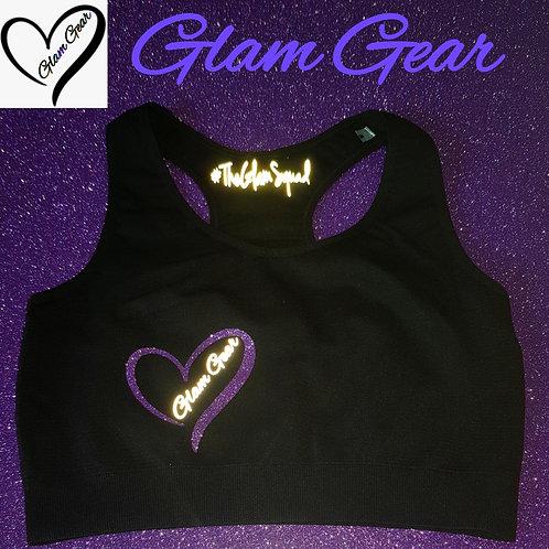 Glam Gear Sports Black/ Purple Crop Top