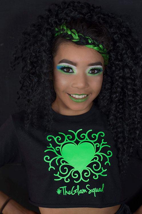 Green/ Black Neon UV Glam Glow Crop Top