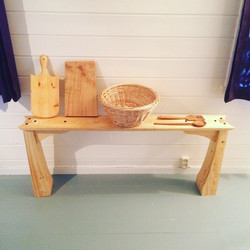 Handmade wares for Norway apartment (bench, baskets, cutting board and spatulas)