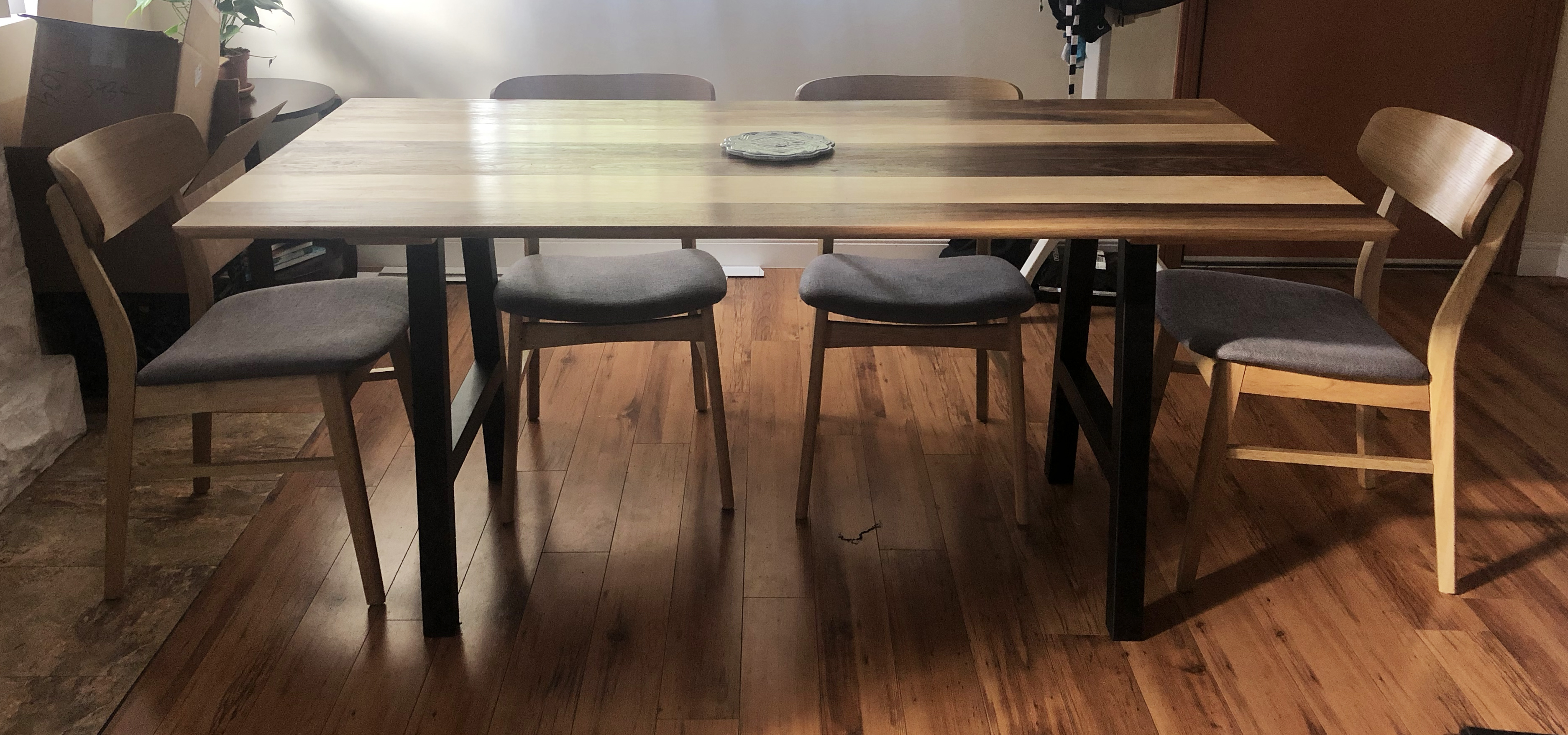 Black walnut and maple dining table (did not make chairs)