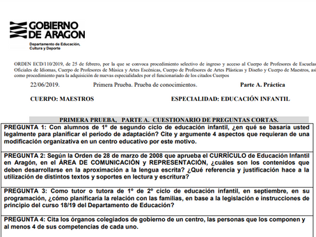 Ejemplo de un examen real (2019) de Oposiciones de Infantil.  Aragón.