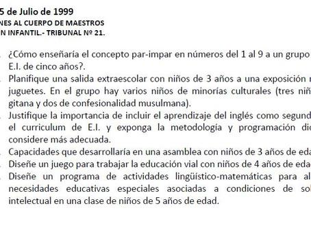 Examen real de Oposiciones de Infantil de Madrid.