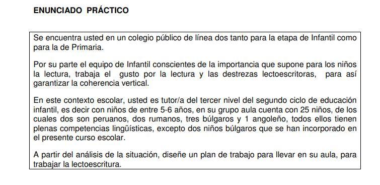 EJEMPLO DE UN SUPUESTO PRÁCTICO PARA INFANTIL. PLAN DESARROLLO LECTO-ESCRITURA