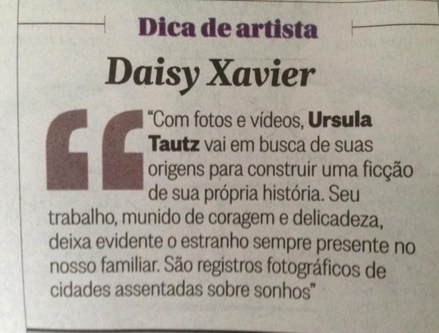 Dica de artista, Daisy Xavier Jornal O Globo, Segundo Caderno, coluna Artes Visuais, 30/03/2015