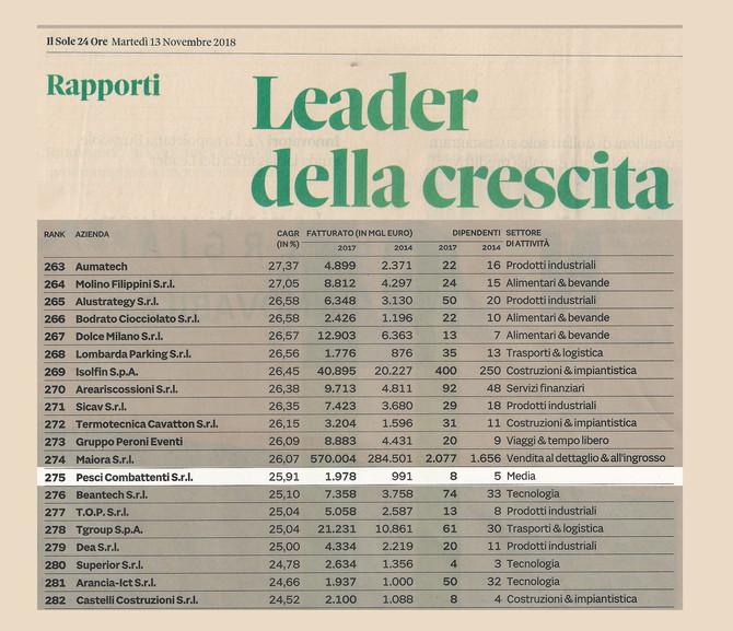 Pesci Combattenti unica società di produzione televisiva tra le aziende italiane leader della cresci