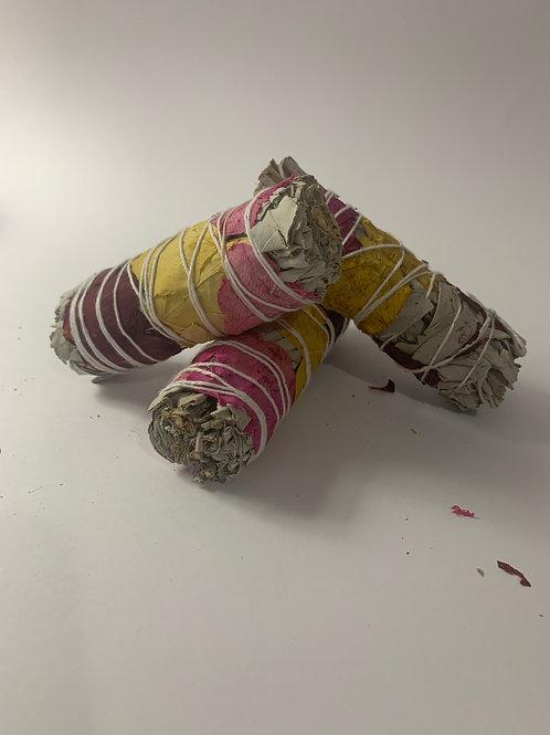 "White Sage & Rose Petal Smudge Stick 4"""