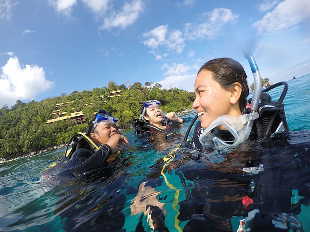 PADI Instructor and Open water scuba diving students Tioman Island Malaysia