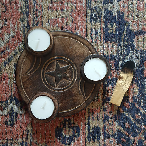 TEA LIGHT -BY 3- HOLDERS - TRIPLE MOON