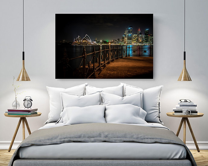 Sydney Night Sky Stretched Canvas