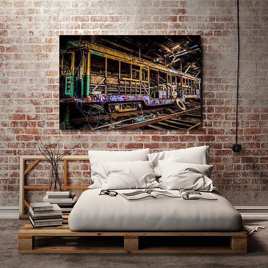 Old City Tram Stretched Canvas