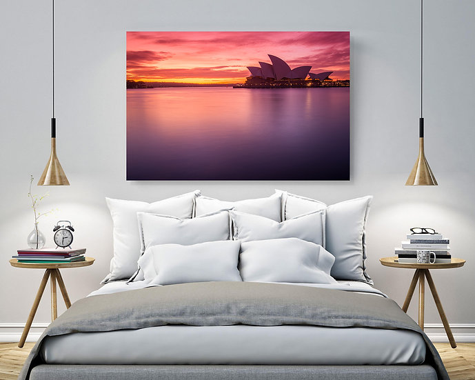 Sydney Harbour Pink Sunrise Stretched Canvas