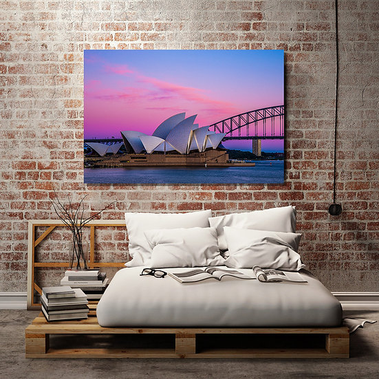Sydney Harbour Pink Stretched Canvas