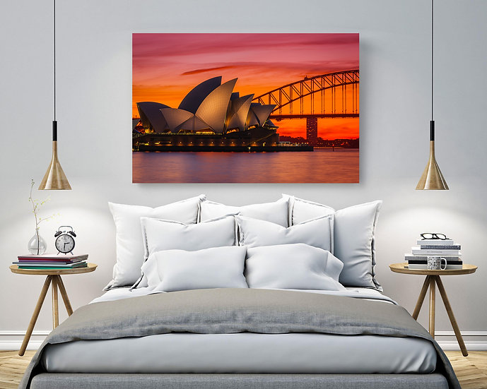Sydney Harbour Sunset Stretched Canvas
