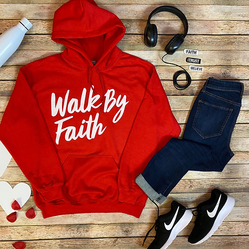 Walk By Faith Hoodie (Red)