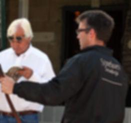 Bob Baffert inspects a Stonehaven yearli